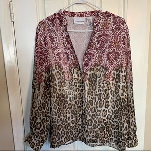 Alfred Dunner Floral Animal Print Blouse sz 16